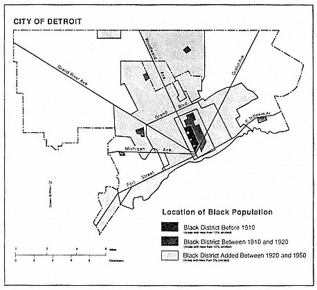 Location of black population, 1910to 1950. Map prepared by Bradley Davis, Department  of Geography and Urban Affairs, Michigan State Universit
