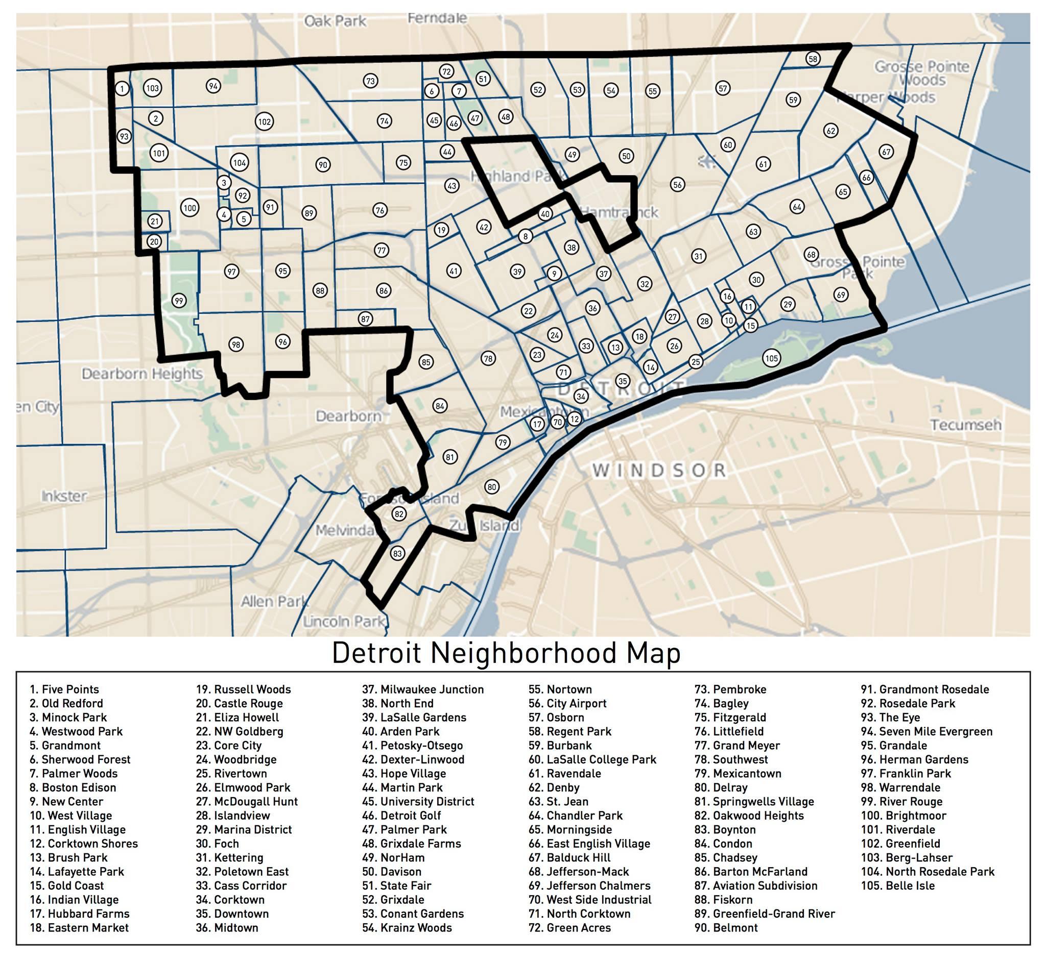 land's Detroit Neighborhoods Map | DETROITography on
