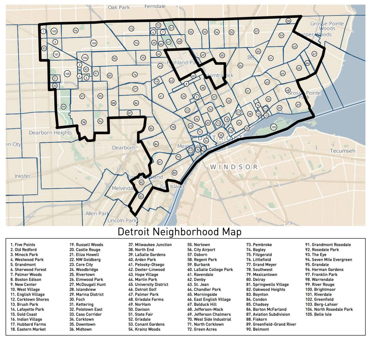 Loveland's Detroit Neighborhoods Map
