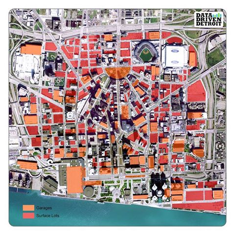 Map of Detroit Parking Footprint DETROITography