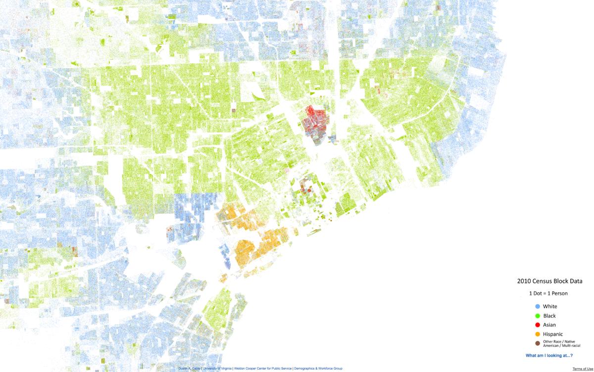 detroit racial dot map  detroitography -