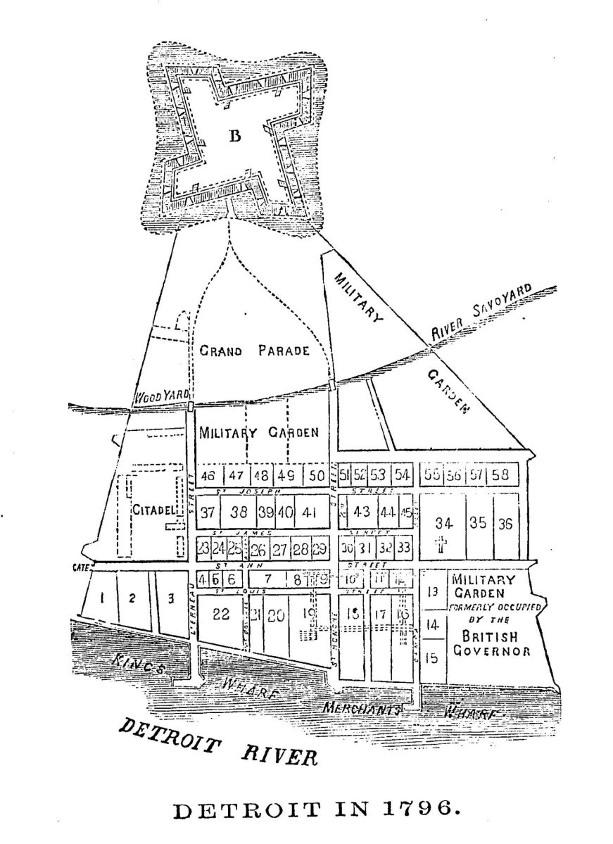 Map of Detroit in 1796
