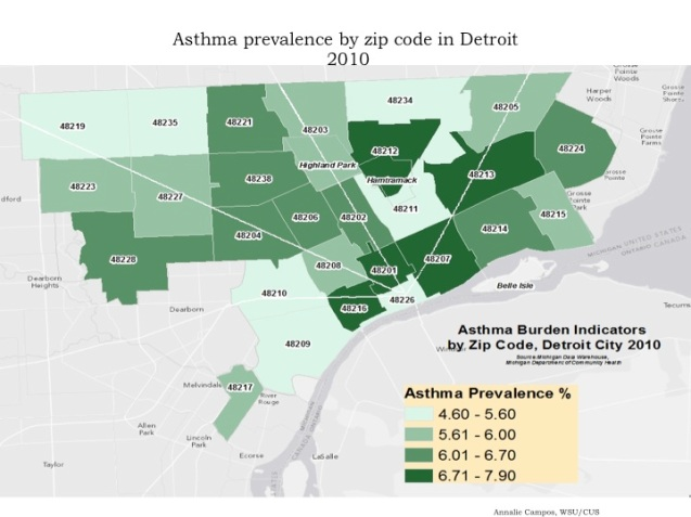 City Of Detroit Zip Code Map.Map Asthma Prevalence By Zipcode In Detroit 2010 Detroitography