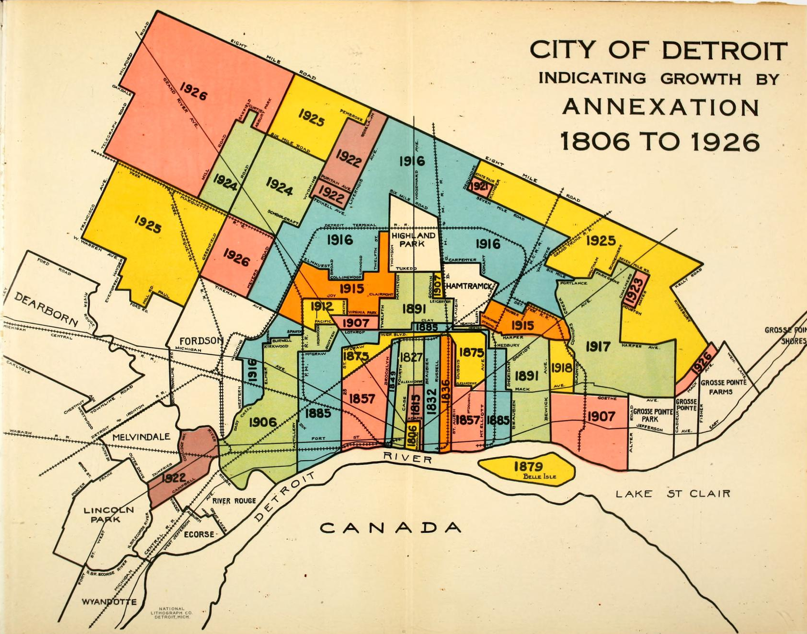 Map Color Coded Detroit Growth by Annexation