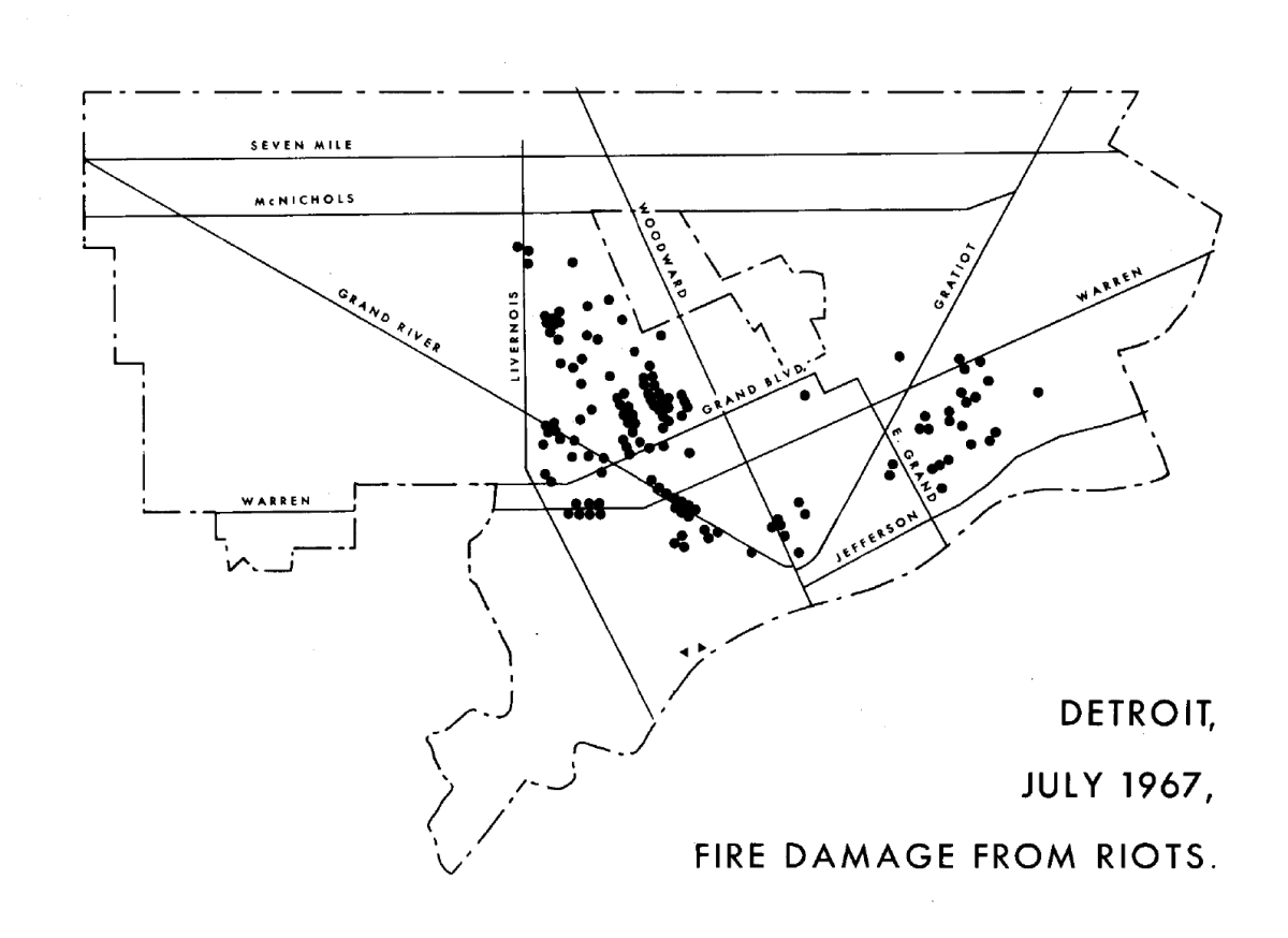 Map of Detroit Riots Fire Damage 1967