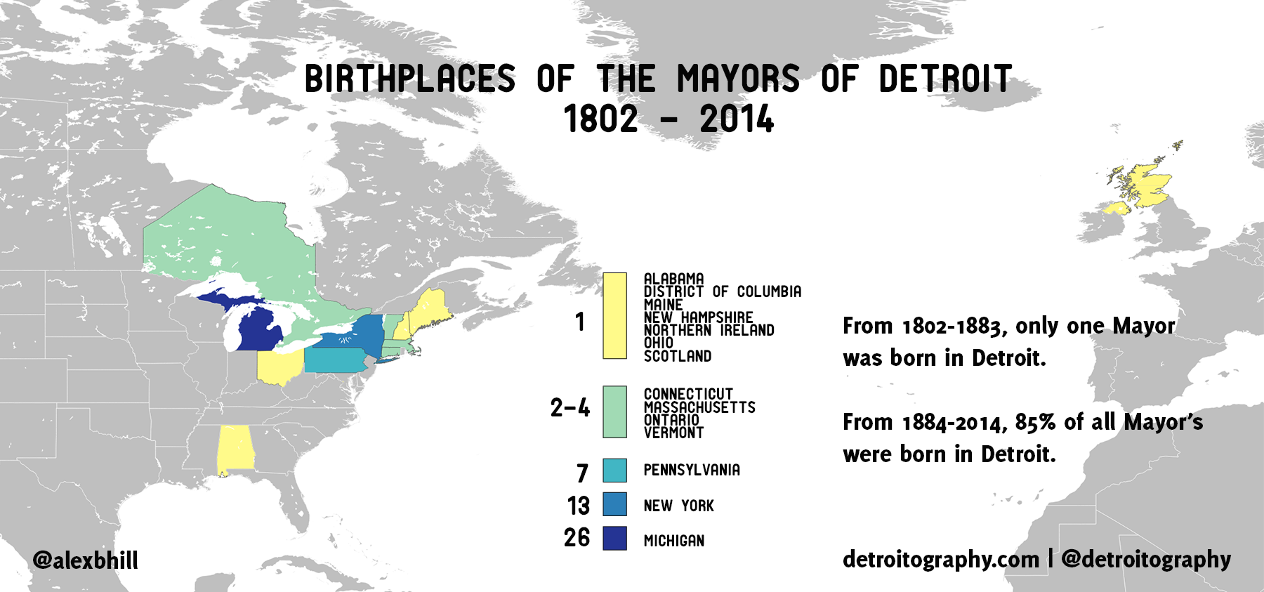 Map Birthplaces Of The Mayors Of Detroit DETROITography - Us map by number of presidents