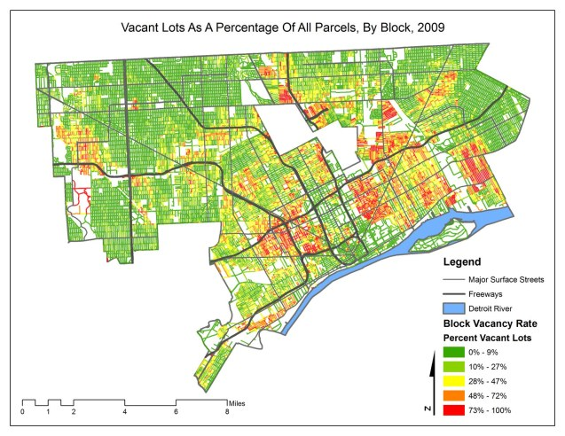 Map: Detroit Block Vacancy Rate 2009