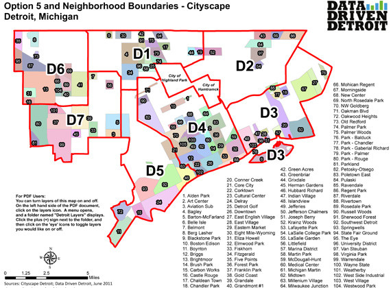 Proposed Detroit City Council Districts and Neighborhoods Map ... on