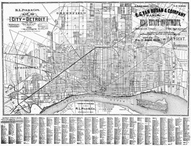 Detroit street map 1898