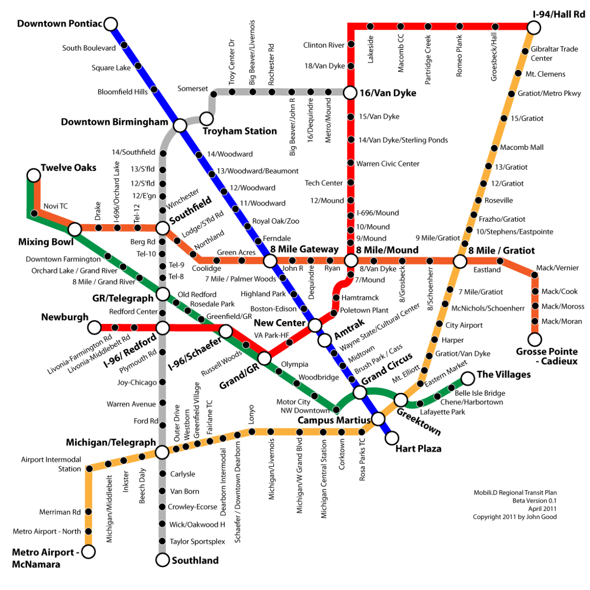 Detroit Regional Mass Transit Map 2011