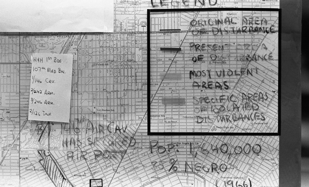 Map Military Staging During The 1967 Detroit Riots