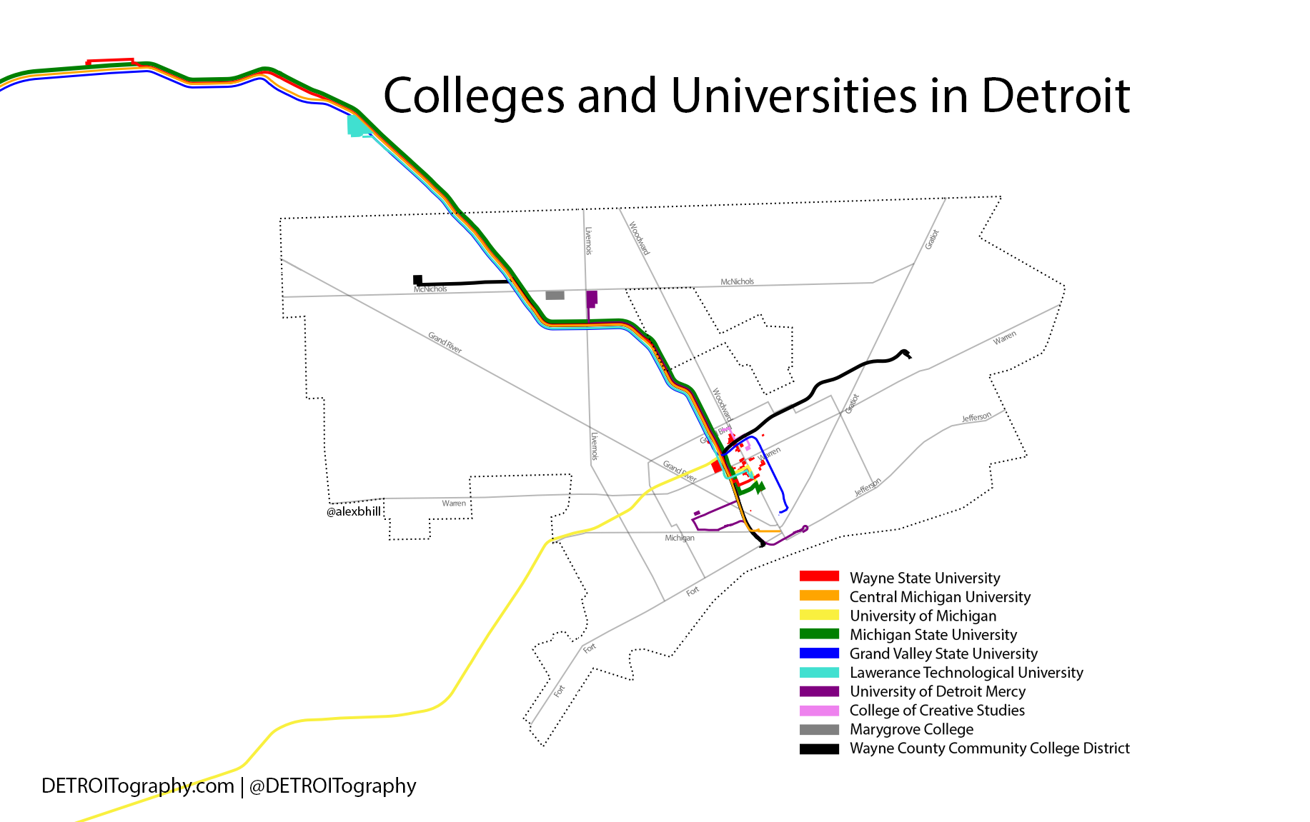 Udm Campus Map.Map Colleges And Universities In Detroit Detroitography