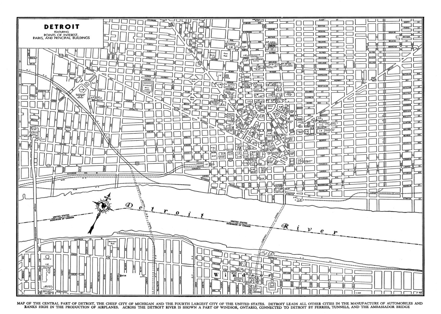 Map Detroit Streets 1944  DETROITography