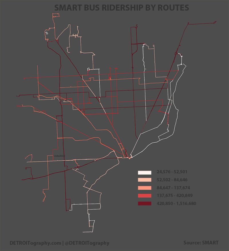 Detroit Bus Ridership Map 2013 DETROITography
