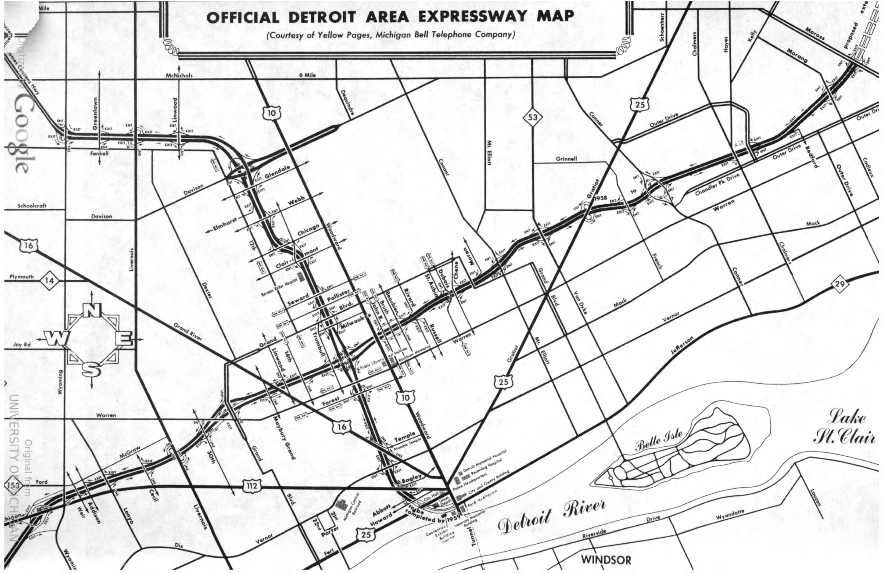 Detroit Area Expressways Map 1959 | DETROITography