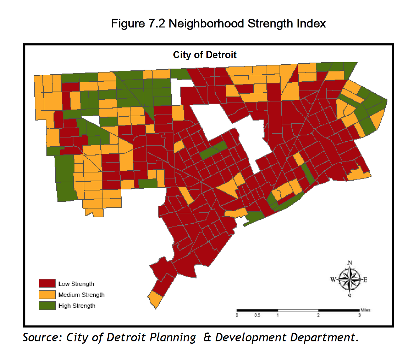 detroit vacant land map Map Detroit Neighborhood Strength Index Detroitography detroit vacant land map