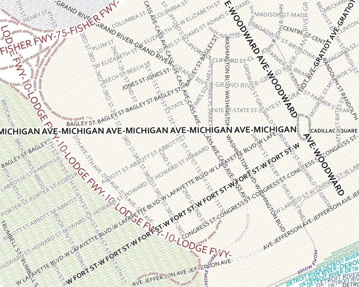 Typographic Map of Detroit