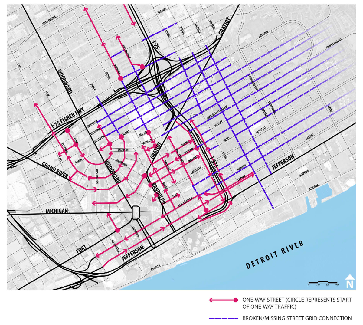 Map: One-Way Streets in Downtown Detroit