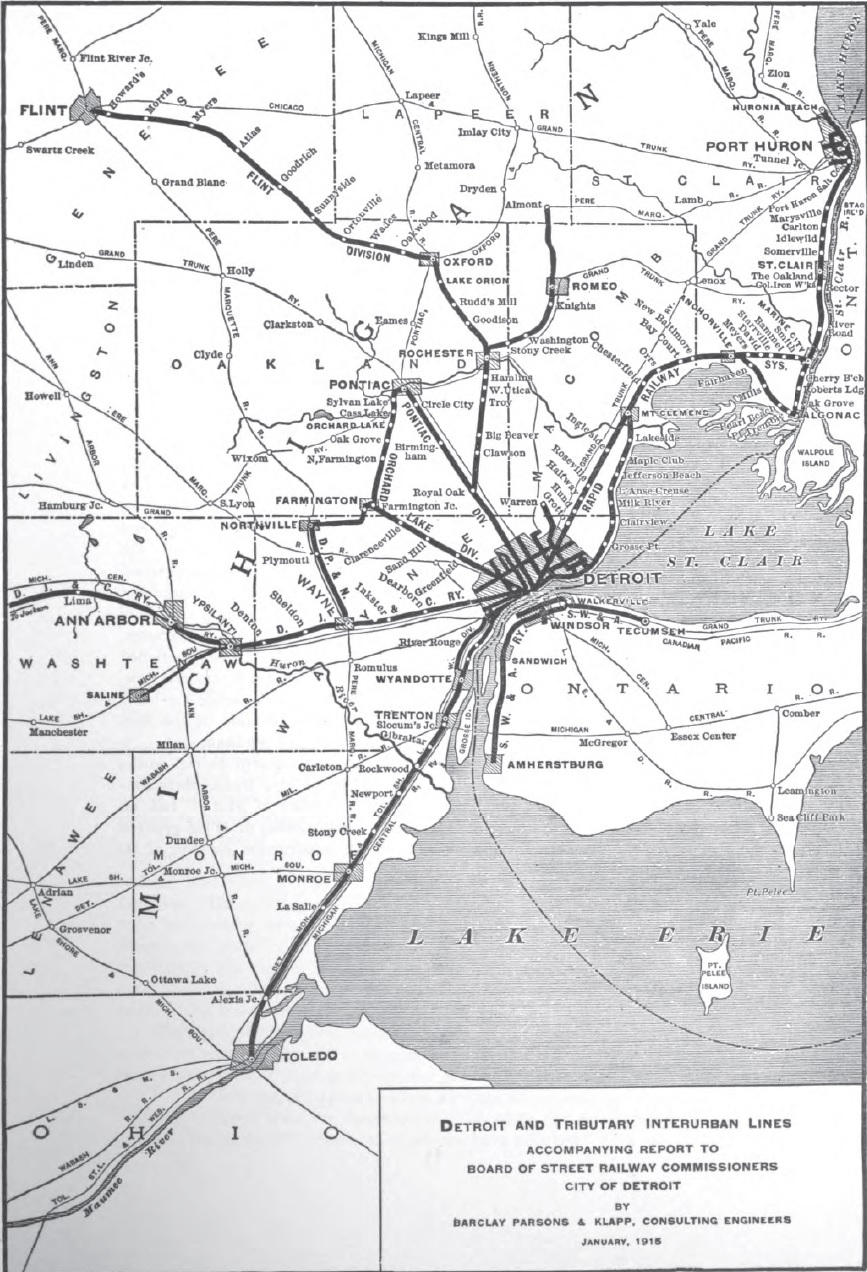Map Of Detroit Interurban Lines 1915 Detroitography