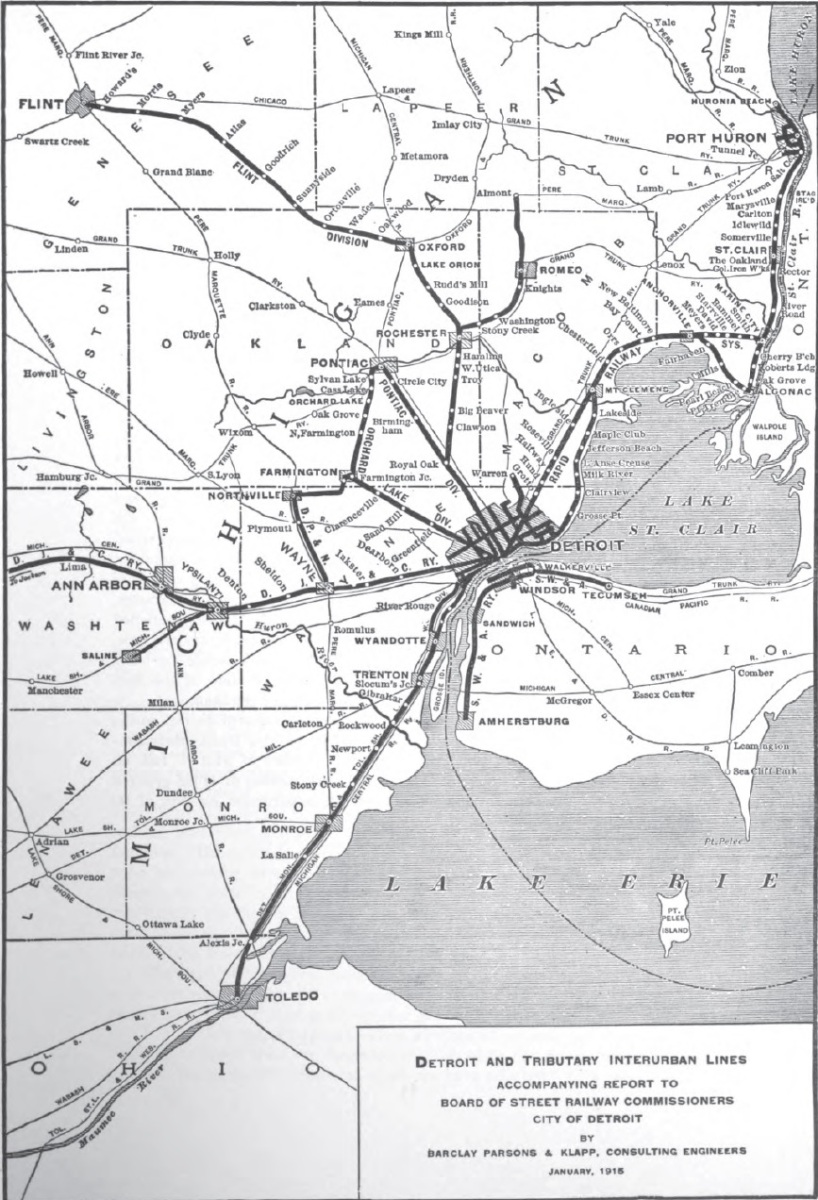 Map of Detroit Interurban Lines 1915