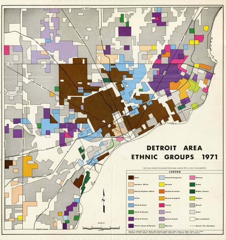 Map Detroit Area Ethnic Groups 1971  DETROITography