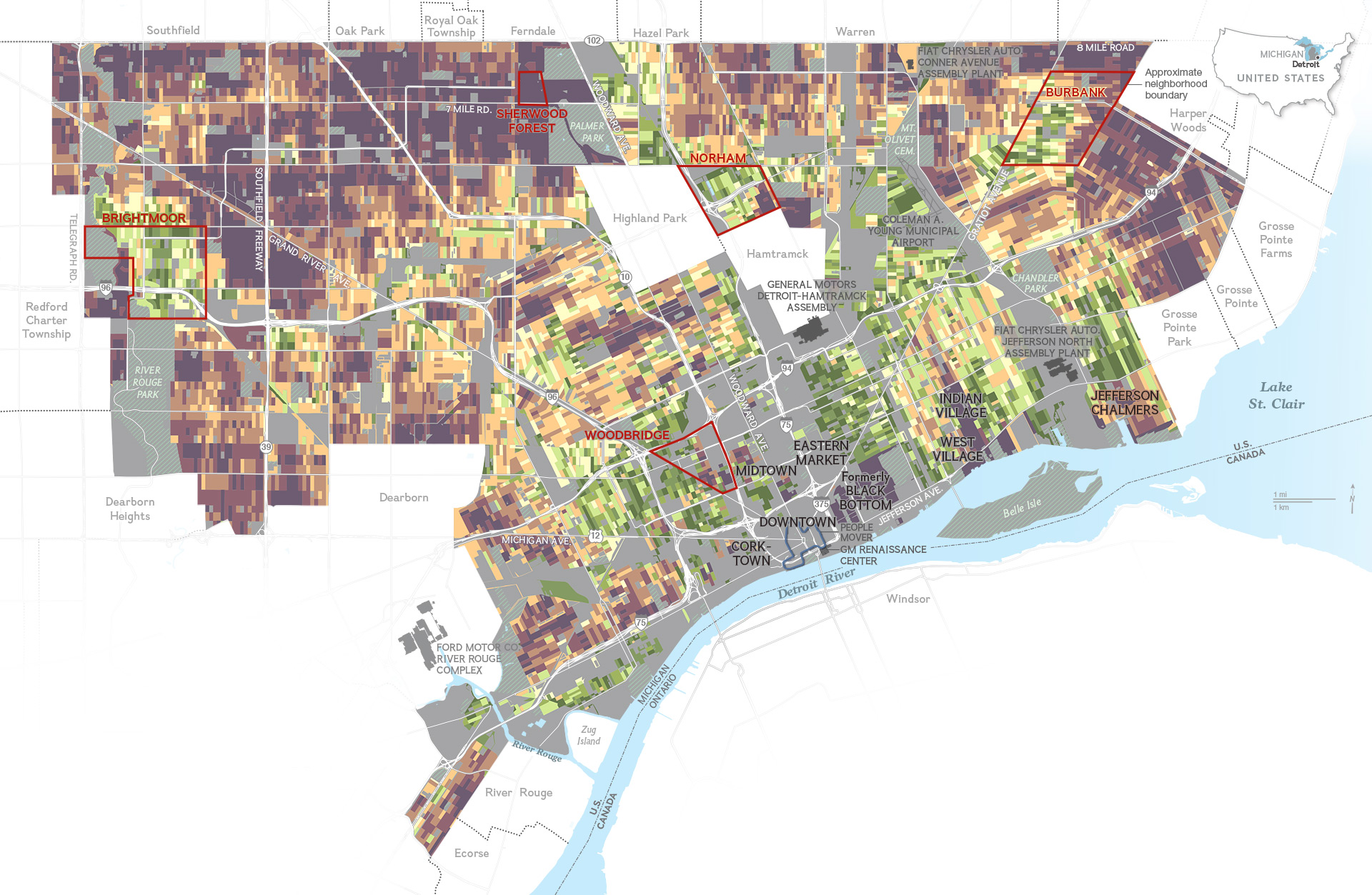 Map National Geographic Rethinks Detroit Detroitography