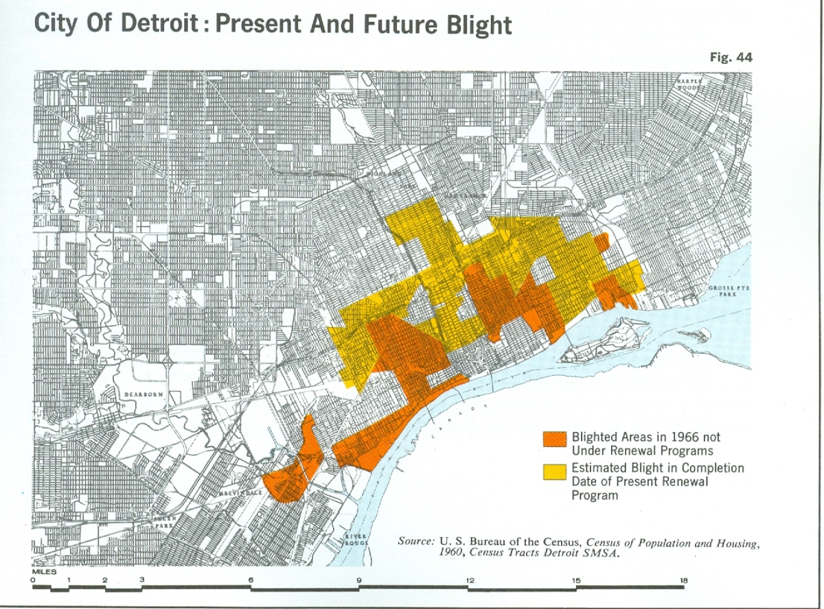 map  city of detroit present and future blight 1960