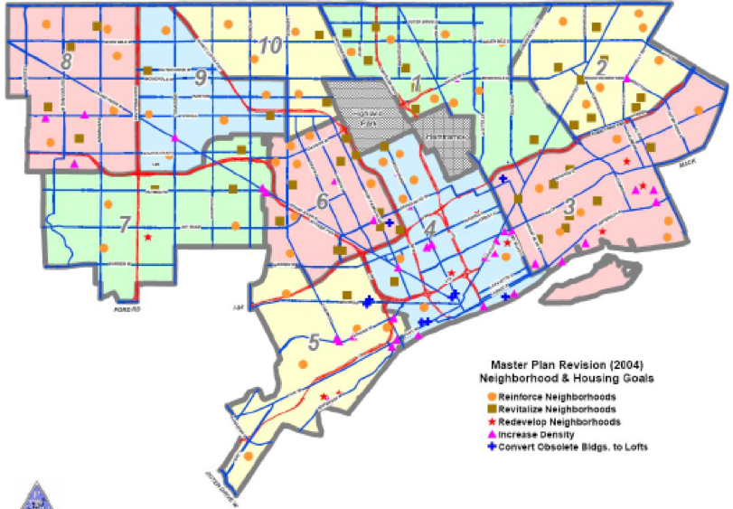 Map Detroit Master Plan Neighborhoods And Housing 2004