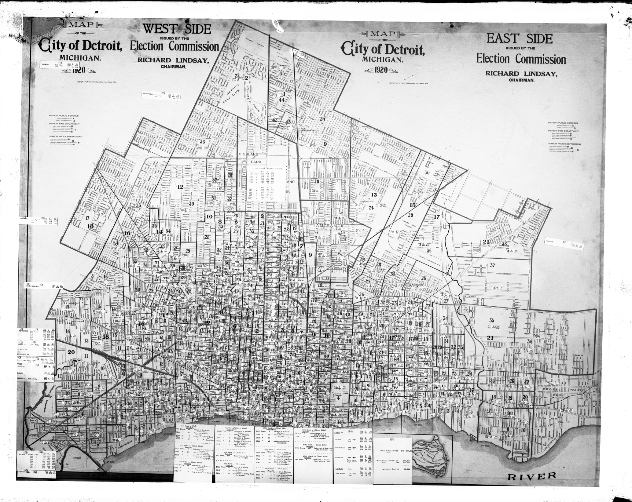 Map: Detroit Election Commission 1920 | DETROITography