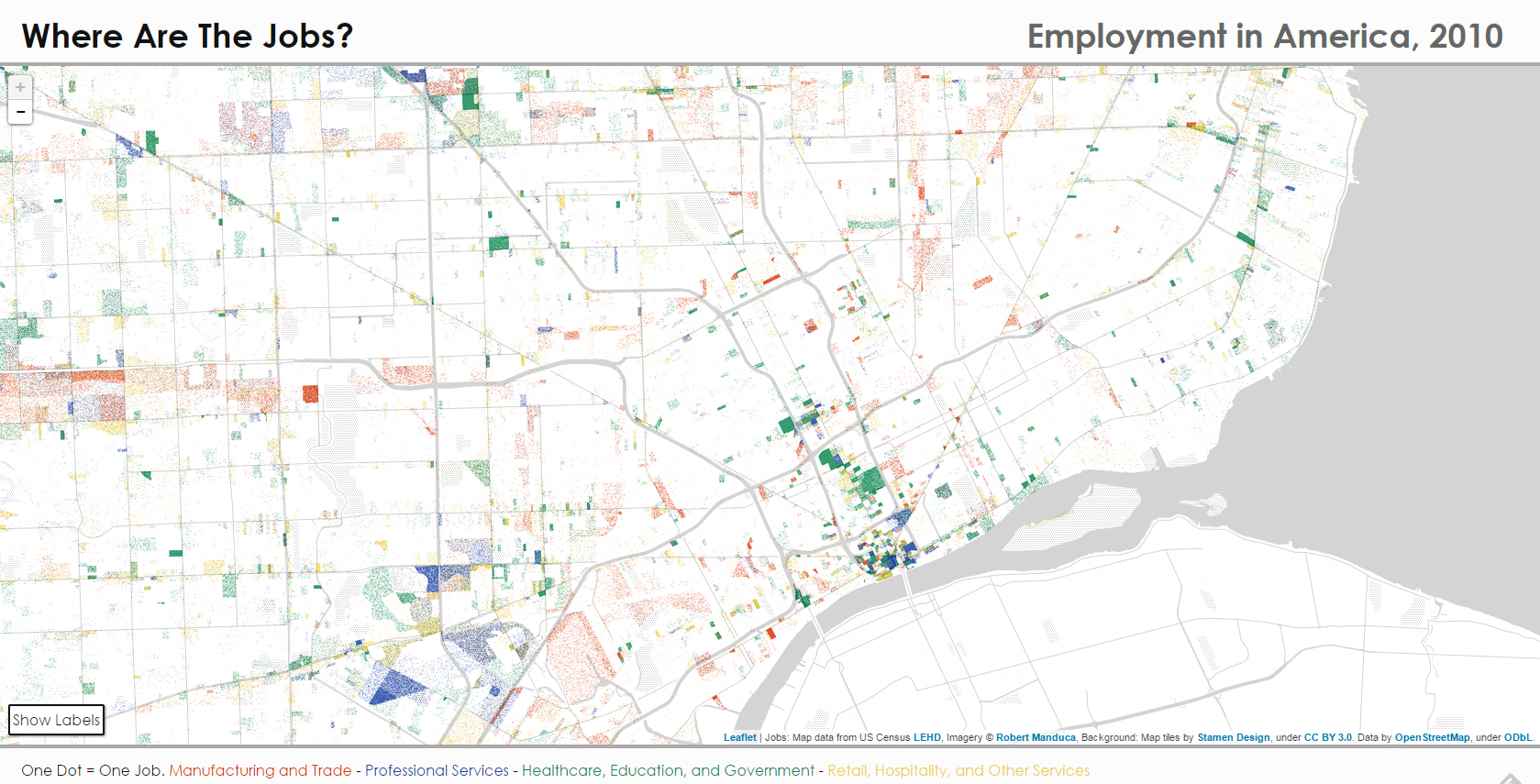 Map Where Are the Jobs in Detroit DETROITography