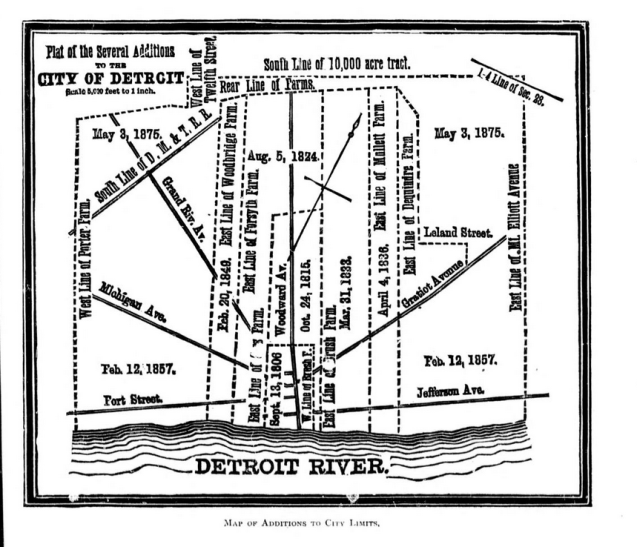 Map Of Additions To Detroit City Limits 1884  DETROITography