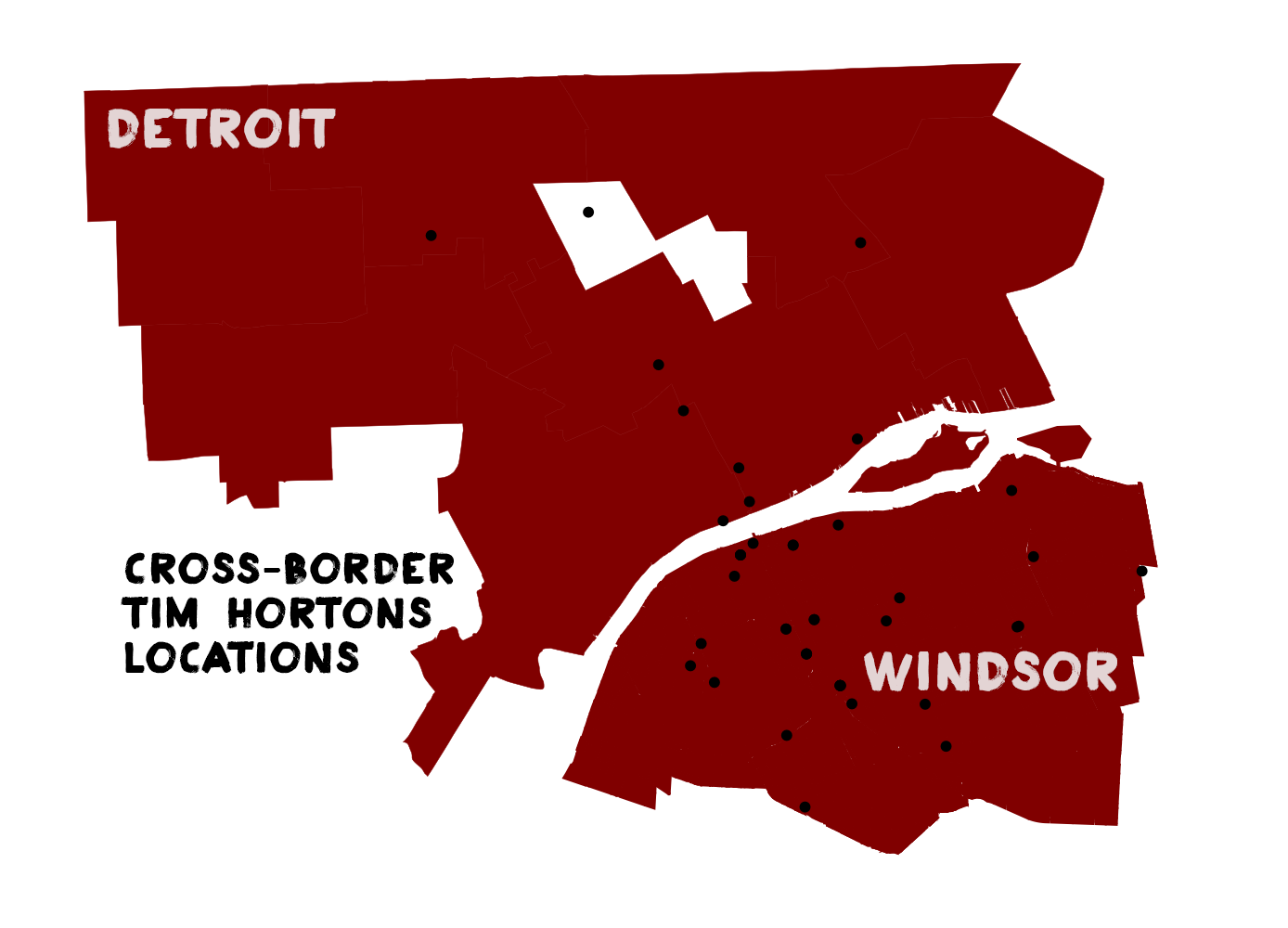 Map Tim Hortons In Detroit And Windsor DETROITography - Tim hortons us locations map