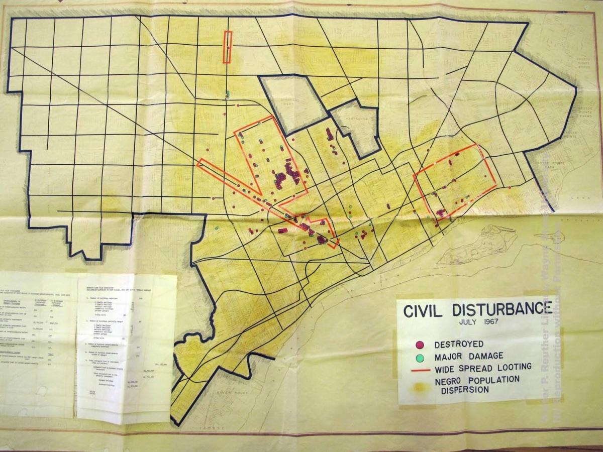 Map Detroit Civil Disturbance July 1967  DETROITography