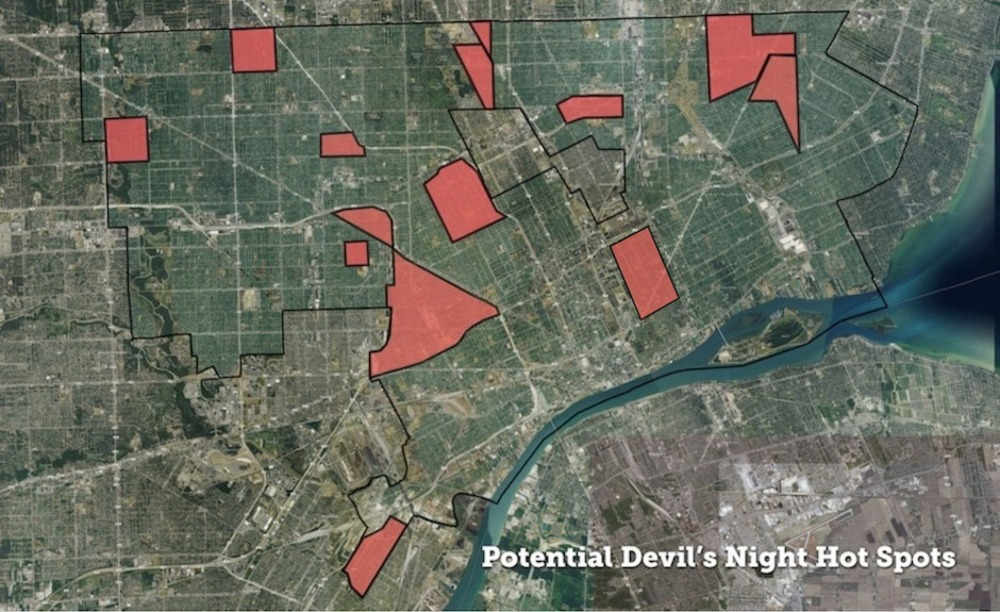 Map: Potential Devil's Night Hot Spots in Detroit | DETROITography on
