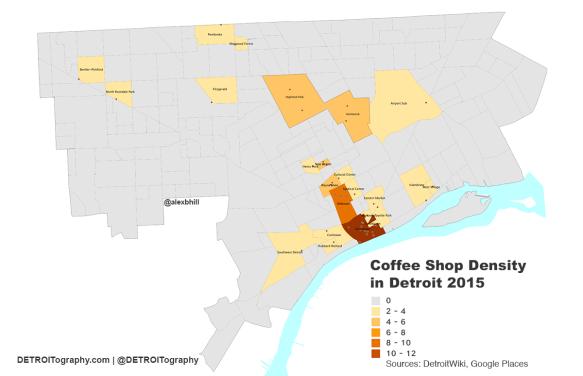 Map: Detroit Neighborhood Coffee Shop Density 2015 ... on detroit development, detroit seafood market, detroit construction, detroit hood, detroit at night, detroit fist, detroit parks, detroit michigan neighborhoods, detroit ghetto people, detroit neighborhoods in the sixties, detroit neighborhoods to avoid, detroit city limits, baltimore ghetto map, detroit wasteland, detroit 1970s, detroit international riverfront, detroit cass technical high school, detroit potholes, detroit crime stats,