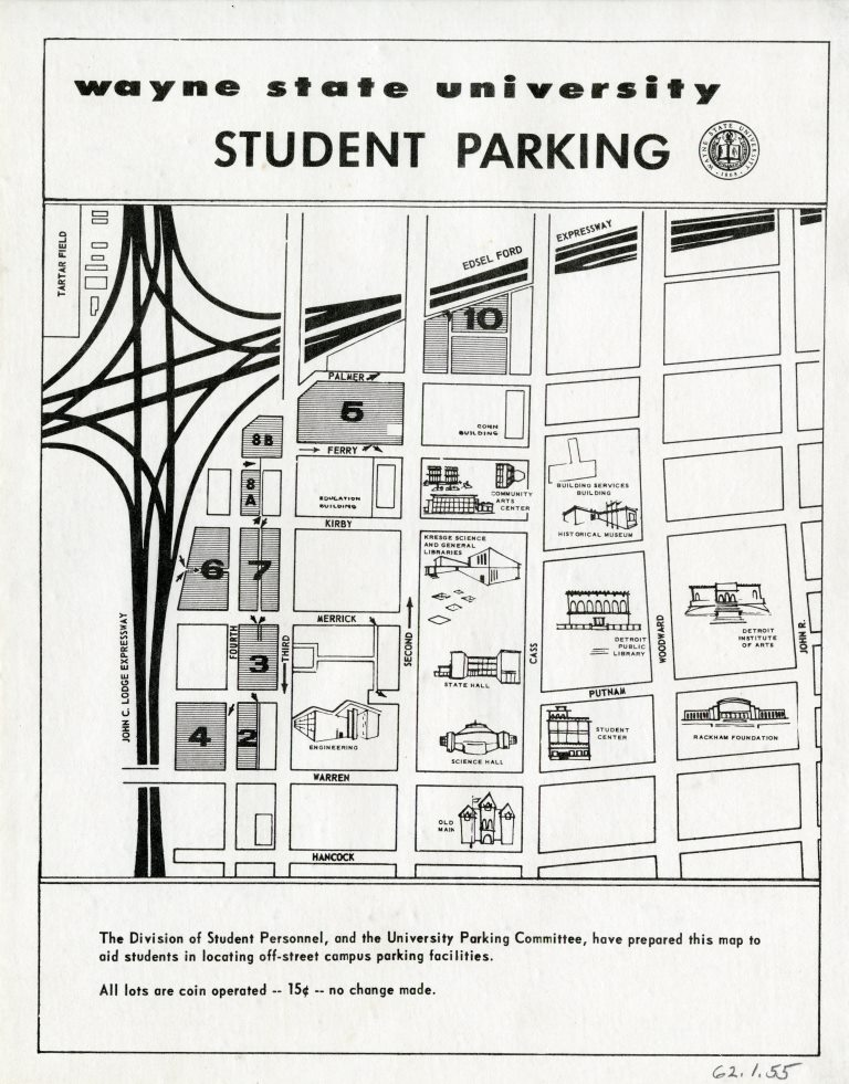 Map Wayne State University Student Parking 1960 Detroitography: Wayne State Campus Map At Slyspyder.com