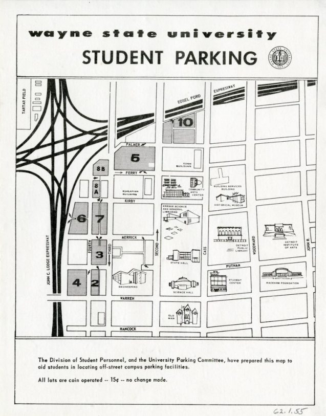 Map Wayne State University Student Parking 1960 Detroitography