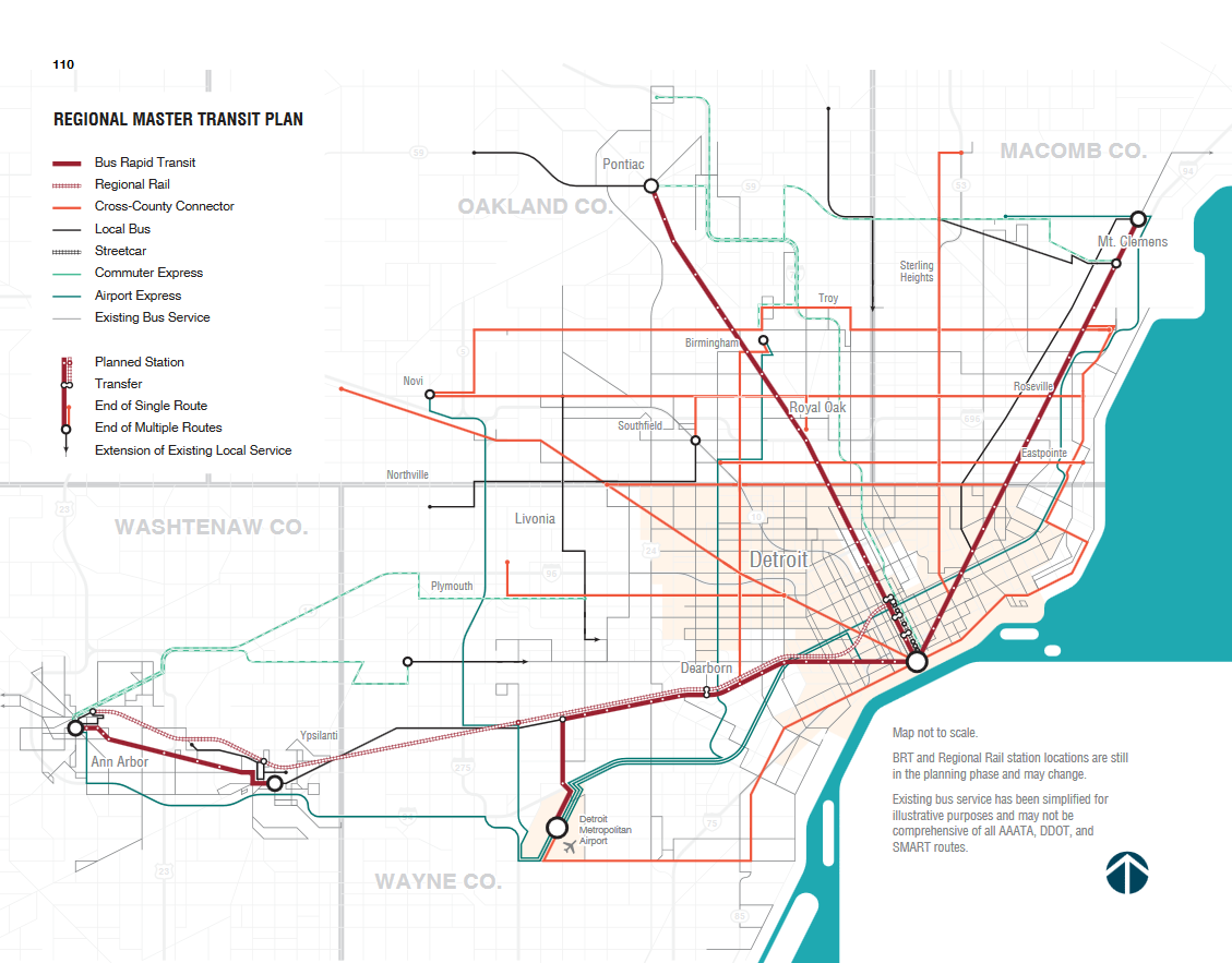 Map New Detroit Regional Master Transit Plan 2016 Detroitography