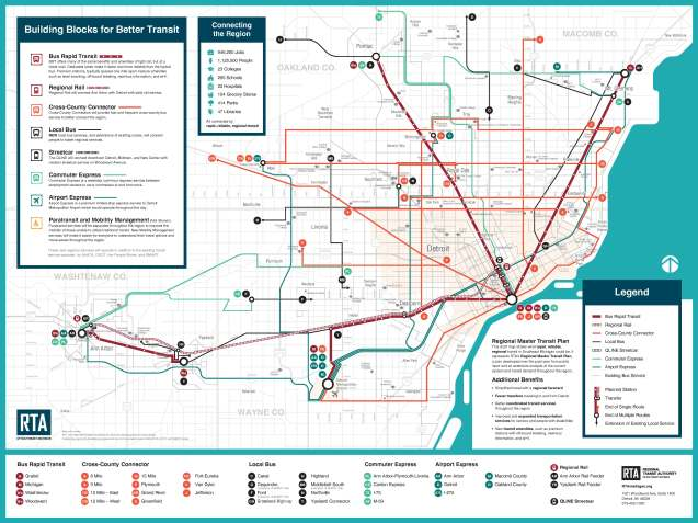 New bus route map for greater Detroit area