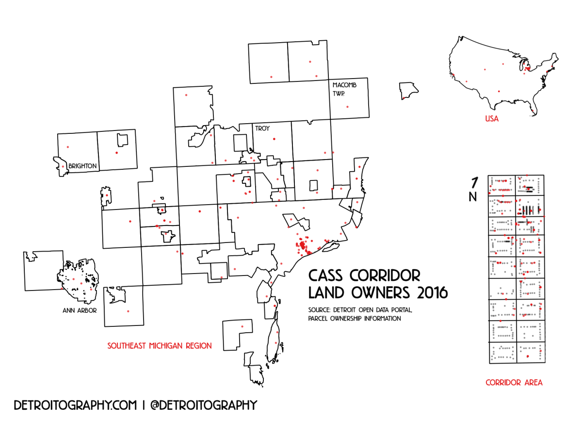 Map Cass Corridor Land Owners DETROITography - Michigan land ownership maps
