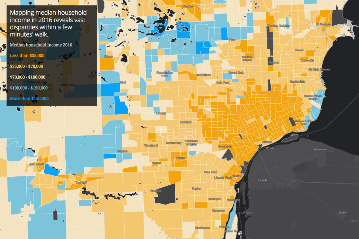 Map: Wealth Divides in Metro Detroit
