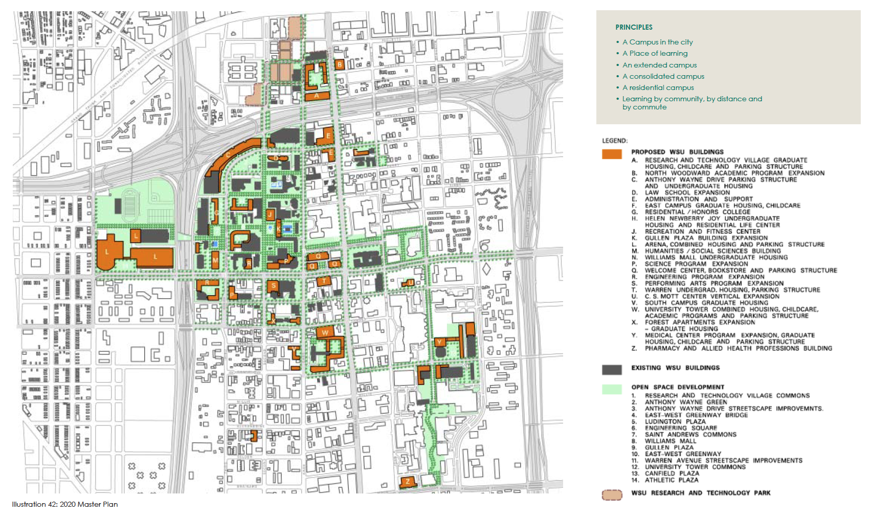 Map Wayne State Cus Master Plan 2020 Detroitography: Wayne State Campus Map At Slyspyder.com