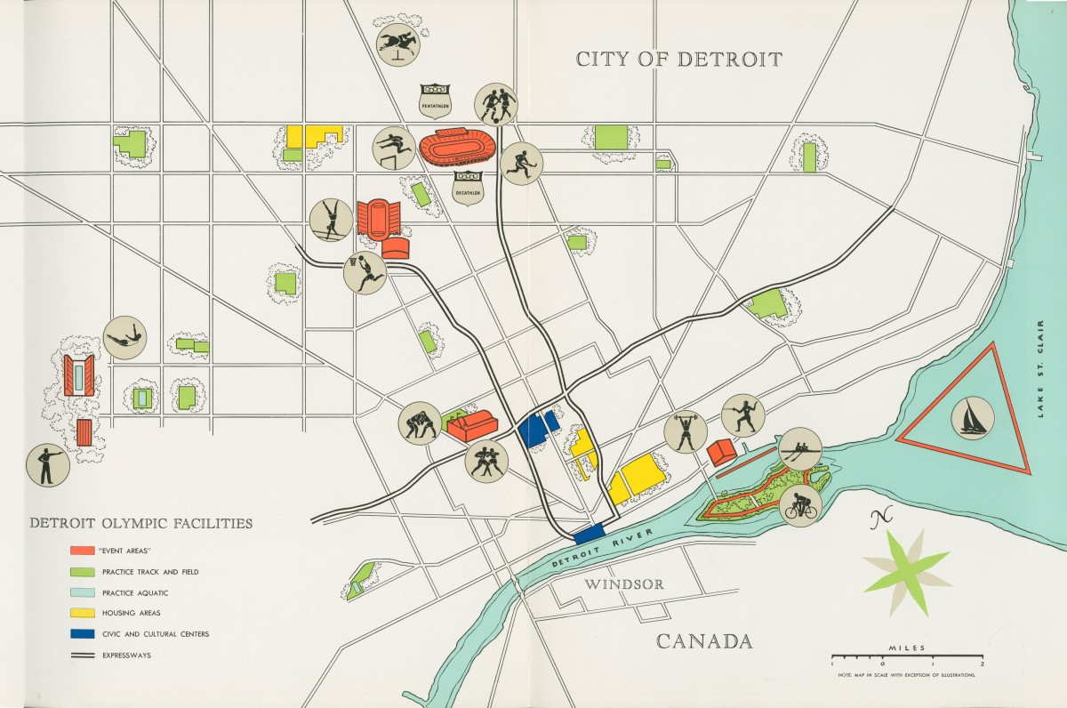 Map: Detroit Olympic Committee Bid 1964
