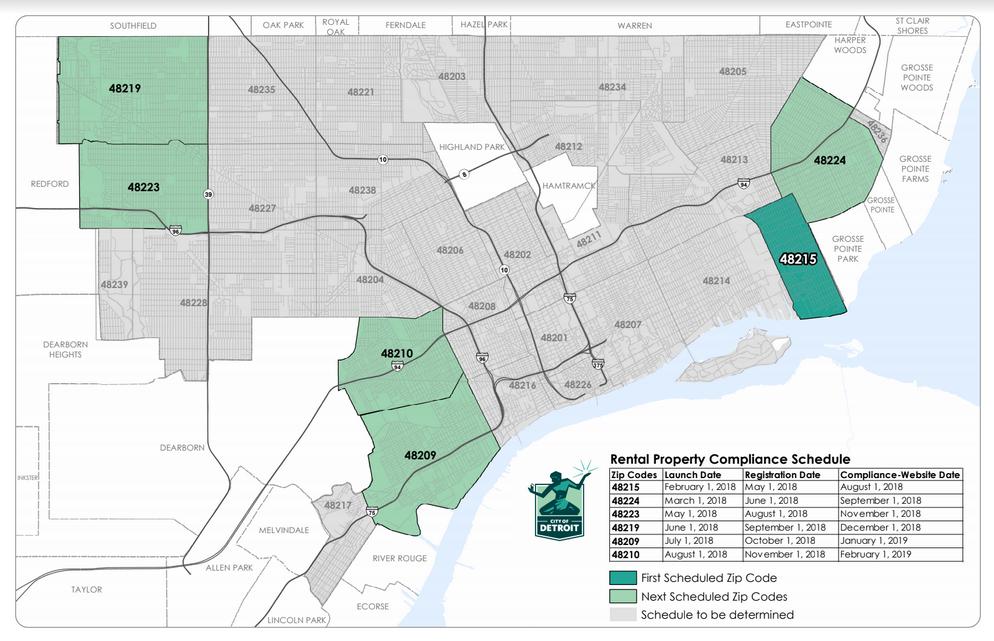 48201 Zip Code Map.Map Detroit Rental Property Compliance 2018 Detroitography
