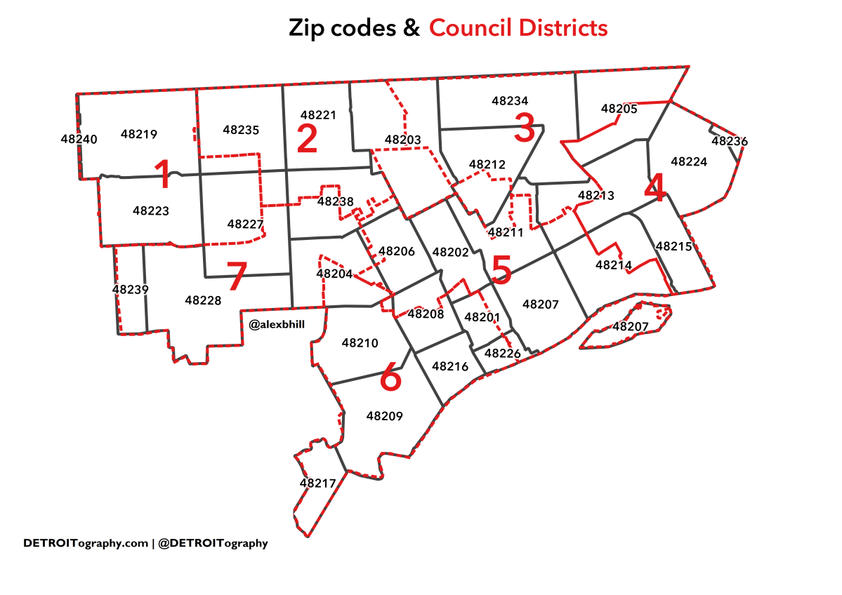 Map: Data Conundrums with ZIP Codes and Council Districts in Detroit
