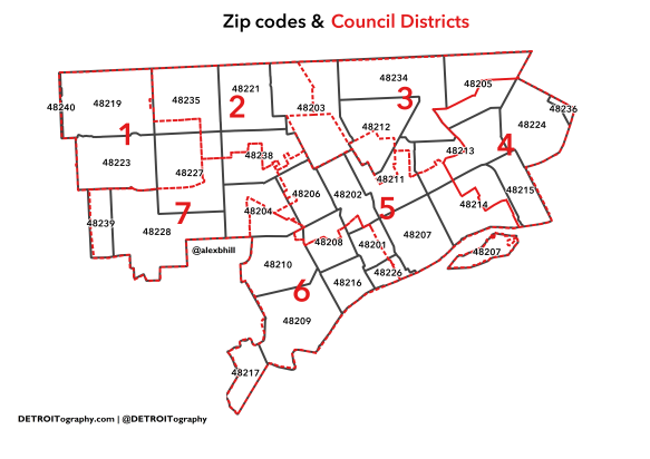 zip code map detroit Map Data Conundrums With Zip Codes And Council Districts In zip code map detroit