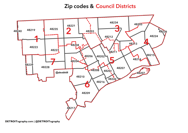 Detroit Zip Code Map Map: Data Conundrums with ZIP Codes and Council Districts in  Detroit Zip Code Map