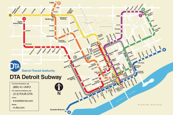 Chicago Subway Map With Streets.Map Fantasy Detroit Subway Detroitography