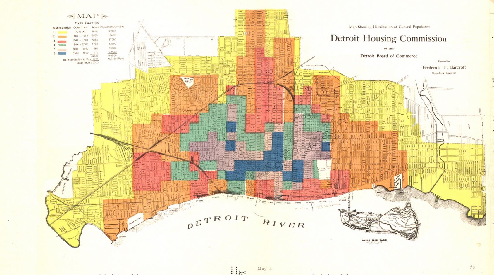 Map: Detroit General Population Distribution 1909