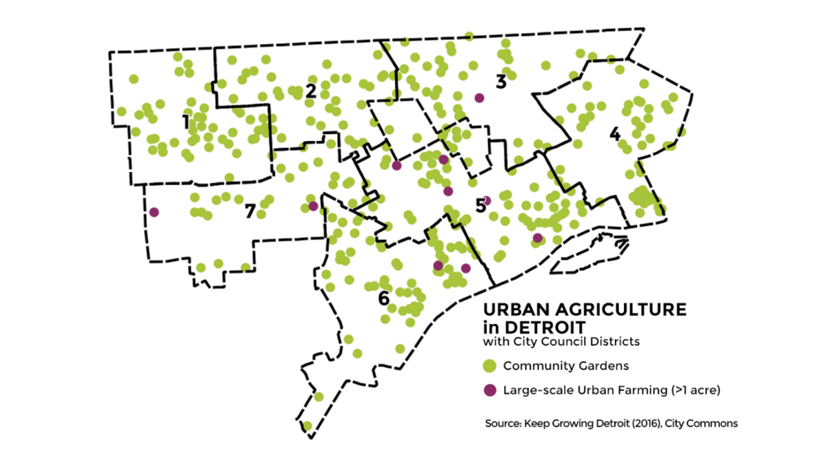 Map: Community Gardens and Urban Farms in Detroit 2017
